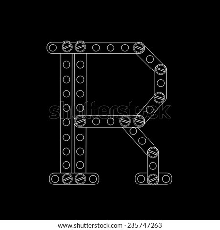 Toon letter (R) with rivets and screws isolated on black background  - stock photo