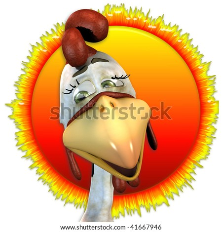 Toon Rooster with a sun background - stock photo