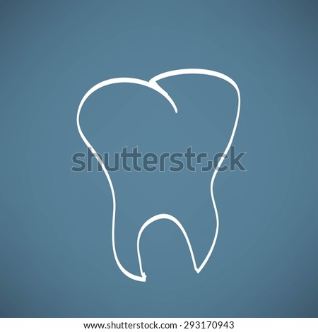 tooth anatomy chalk painted on the chalkboard vector illustration - stock photo