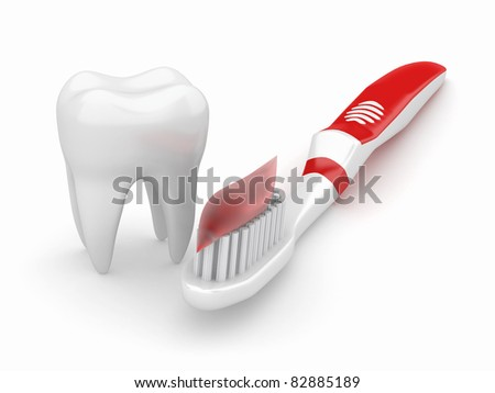 Tooth and toothbrush on white isolated background. 3d - stock photo