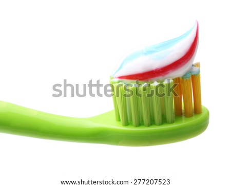 Tooth brush with tooth paste isolated on white background. - stock photo