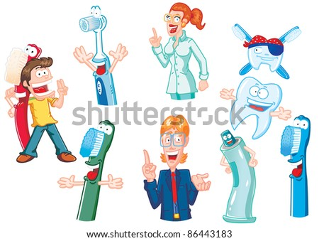 tooth characters characters of the dental practice in funny cartoon version - stock photo