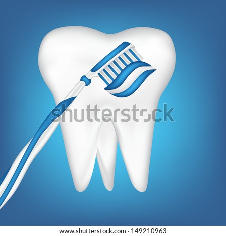 tooth design element and toothbrush - stock photo