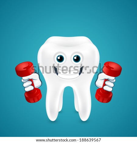 Tooth doing exercises with dumbbells on blue background - stock photo
