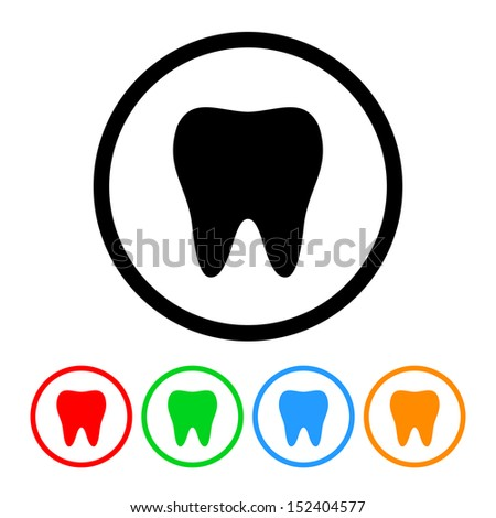 Tooth Icon with Color Variations.  Raster version. - stock photo