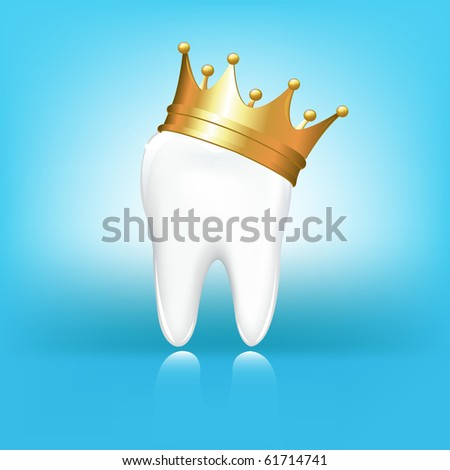 Tooth In Golden Crown, On Blue Background - stock photo