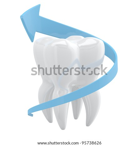 Tooth protection concept. 3D object isolated on white background - stock photo