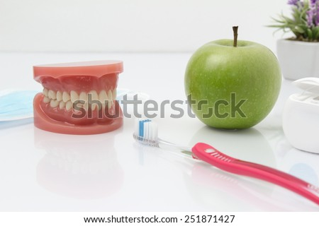 Tooth shape. The teeth of the upper and lower jaw with toothbrush and an apple and flossing In the background is a flower. - stock photo