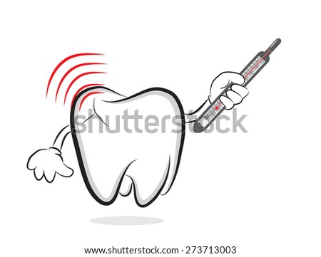 Tooth with inflammation and thermometer as concept for toothache - stock photo
