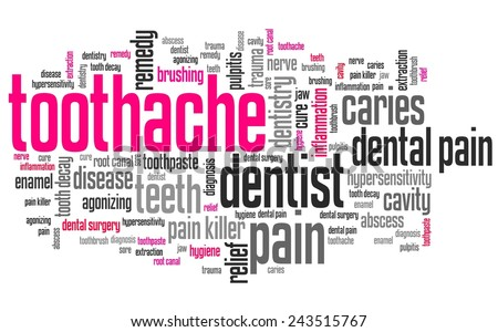 Toothache - dental health concepts word cloud illustration. Word collage. - stock photo