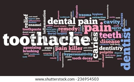 Toothache - health concepts word cloud illustration. Word collage. - stock photo