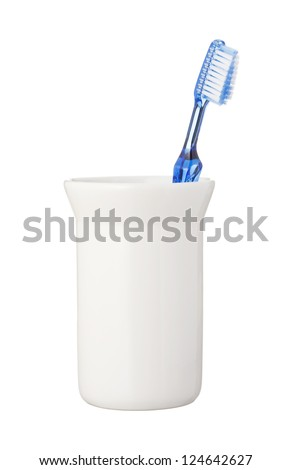Toothbrush isolated on white background - stock photo