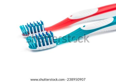 toothbrush on white background - stock photo