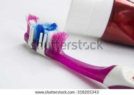 toothbrush paste hygiene health dental dentist  - stock photo