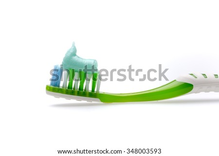 toothpaste toothbrush isolated - stock photo