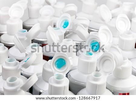 Toothpaste tubes - stock photo