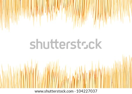 Toothpicks frame isolated on white  background - stock photo