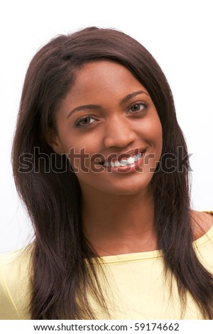 Toothy smile of cheerful young Afro American female with dark long hair - stock photo