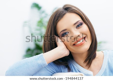 Toothy smiling girl close up portrait. Long hair young model. - stock photo
