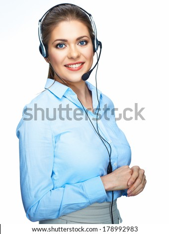 Toothy smiling office worker operator. Business woman isolated white background portrait. - stock photo