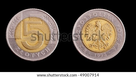 Top and bottom of a five Polish zloty coin - stock photo