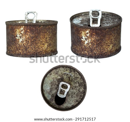 Top and bottom of an old rusty tin can on whitebackground - stock photo