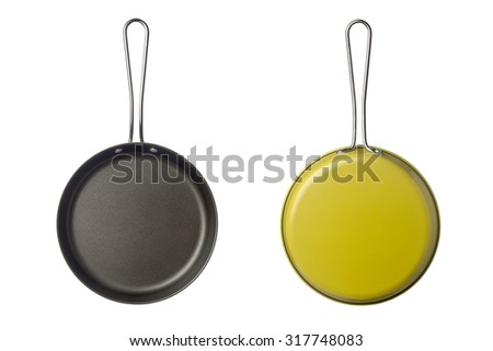 Top and bottom view of a small skillet isolated on white background - stock photo