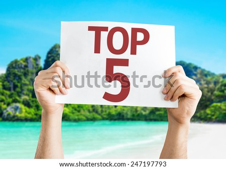 Top 5 card with a beach on background - stock photo
