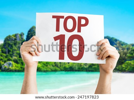 Top 10 card with a beach on background - stock photo