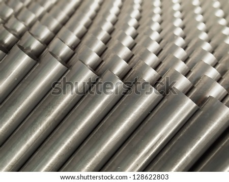Top Close up Steel Pipe for use in directors furniture - stock photo