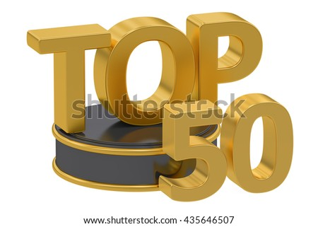 Top 50, 3D rendering isolated on white background - stock photo