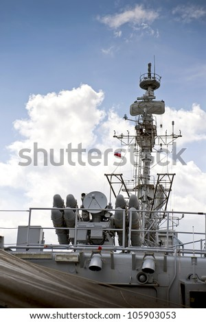 Top deck of the battleship. - stock photo