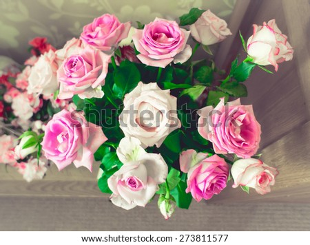 Top down view of a bouquet of roses - stock photo