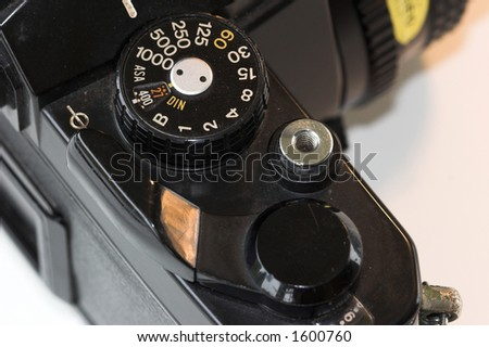 Top down view of vintage camera - stock photo