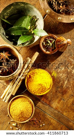 Top down view on large bay leaves, anise and ground turmeric in bowls with dried bamboo sticks in between them - stock photo