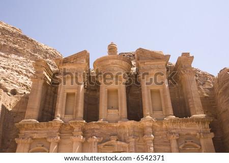 Top facade of Monastery Petra Jordan - stock photo