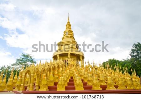 Top five hundred pagodas at beautiful in the Wat pasawangboon Saraburi, Thailand - stock photo