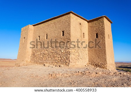 Top fortress in Ait Ben Haddou, Morocco. Ait Benhaddou is a UNESCO World Heritage Site and several films have been shot there. - stock photo