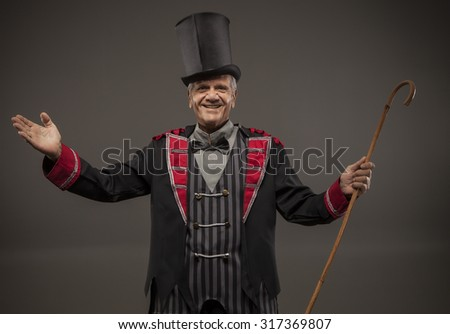 Top Hat, Ticket Seller, Retro American Carnival Barker - stock photo