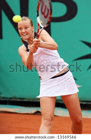 Top hungarian professional tennis player Agnes Szavay in action during her match at French Open, Roland Garros. Paris, France. May 2008. - stock photo