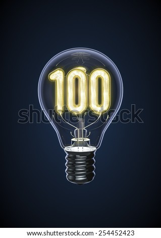 Top 100 ideas bulb - stock photo