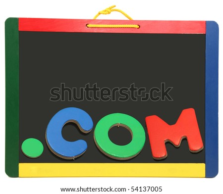 Top level domain Dot COM spelled out on chalkboard with wooden letters - stock photo
