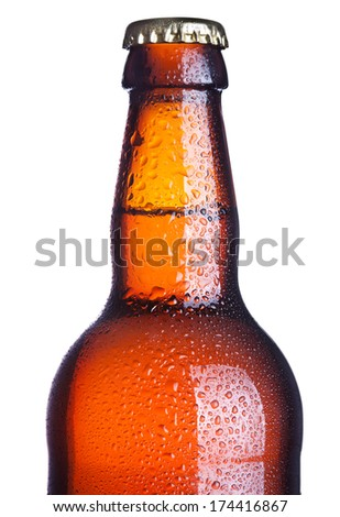 Top of a cold beer bottle covered in condensation isolated on white with clipping path - stock photo