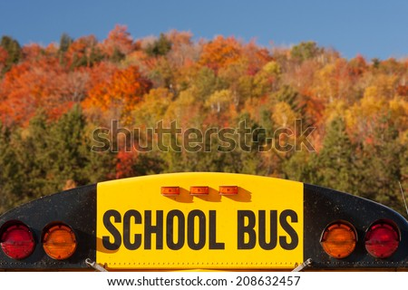 Top of a school bus on an autumn day., Stowe, Vermont, USA - stock photo