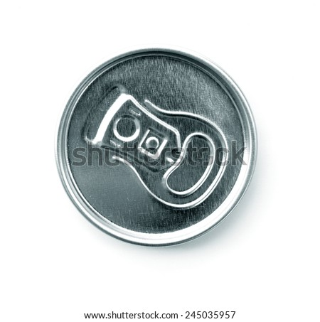 Top of an unopened soda can on a white background - stock photo
