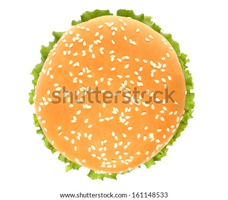 Top of big hamburger on white background   - stock photo