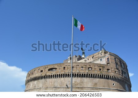 Top of castel sant angelo in rome, italy - stock photo