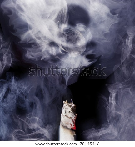 Top of cigarette with smoke coming out, danger sign is forming into the smoke. Blue toned studio shot. Square frame. - stock photo