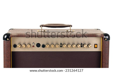 top of guitar amplifier on white background - stock photo