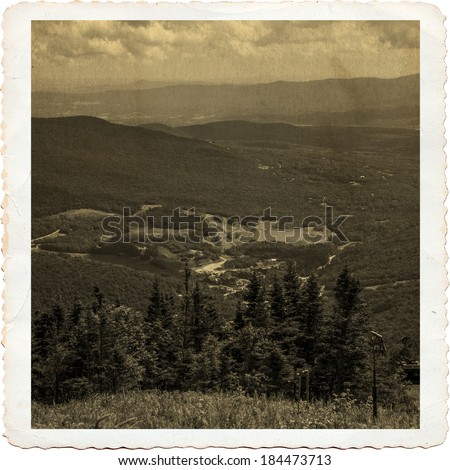 Top of Mount Mansfield in Vermont, antique style - stock photo